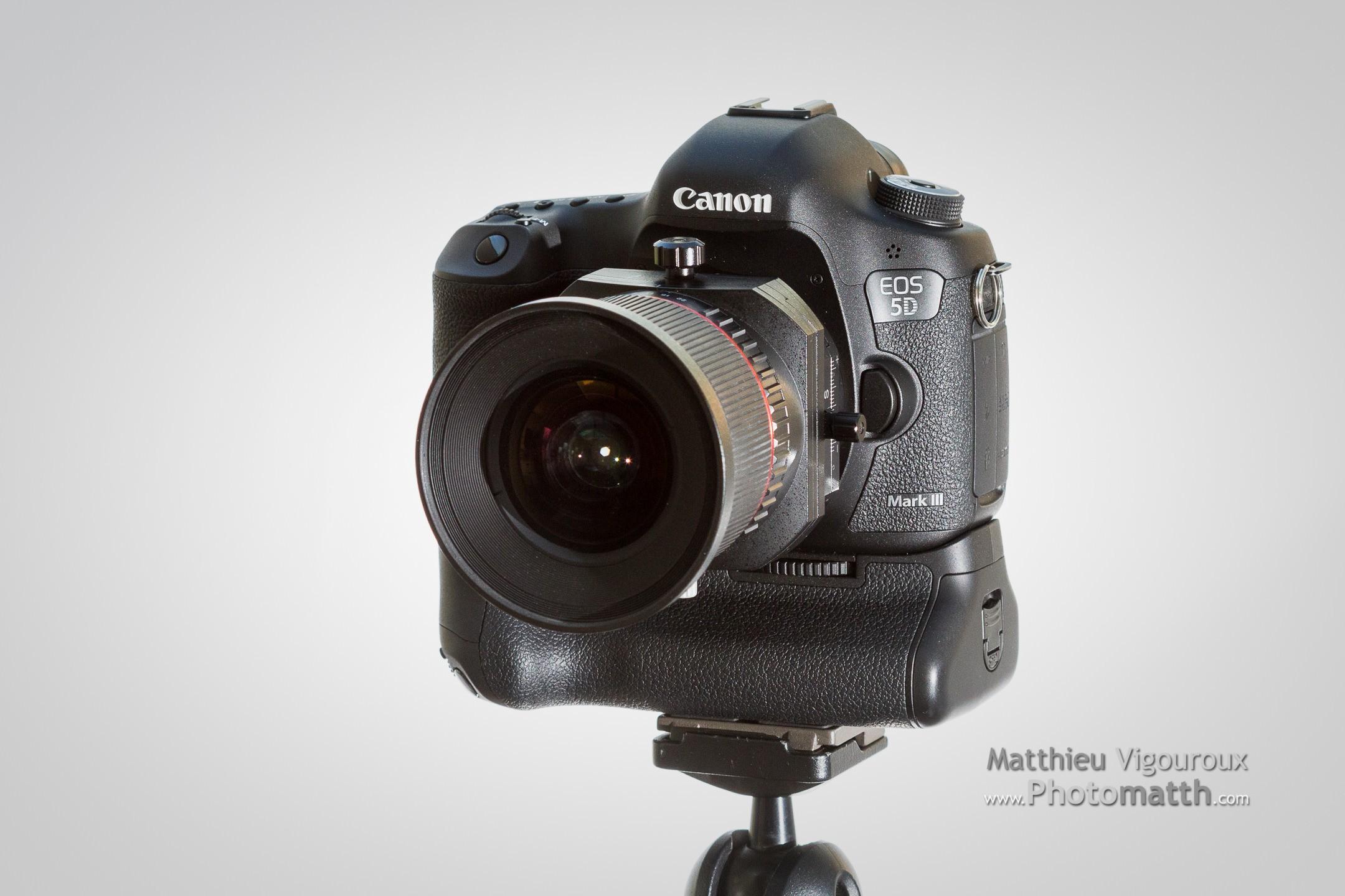 Samyang T-S 24mm 3.5 monté sur Canon EOS 5D Mk III